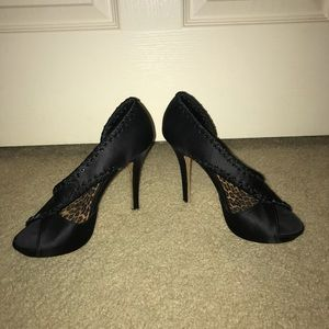 Betsey Johnson Black Satin Heels